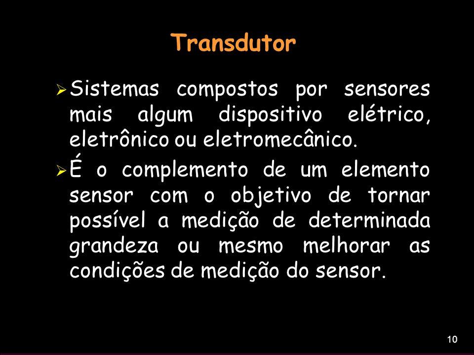 Transdutor Sistemas compostos por sensores mais algum dispositivo elétrico, eletrônico ou eletromecânico.
