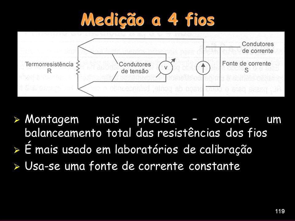 Medição a 4 fios Montagem mais precisa – ocorre um balanceamento total das resistências dos fios. É mais usado em laboratórios de calibração.