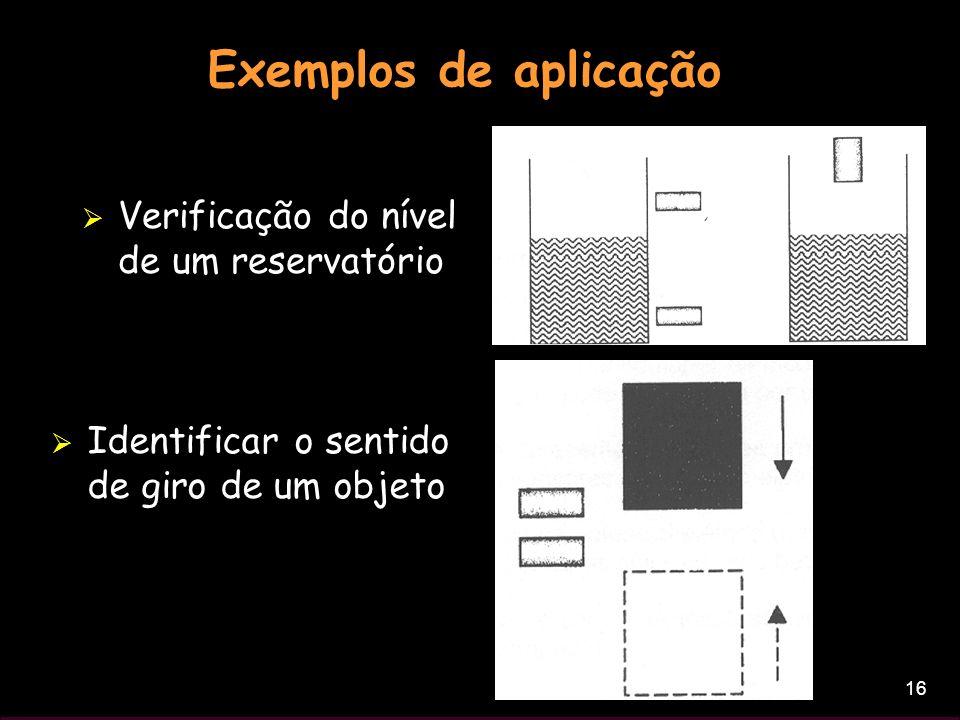 Exemplos de aplicação Verificação do nível de um reservatório