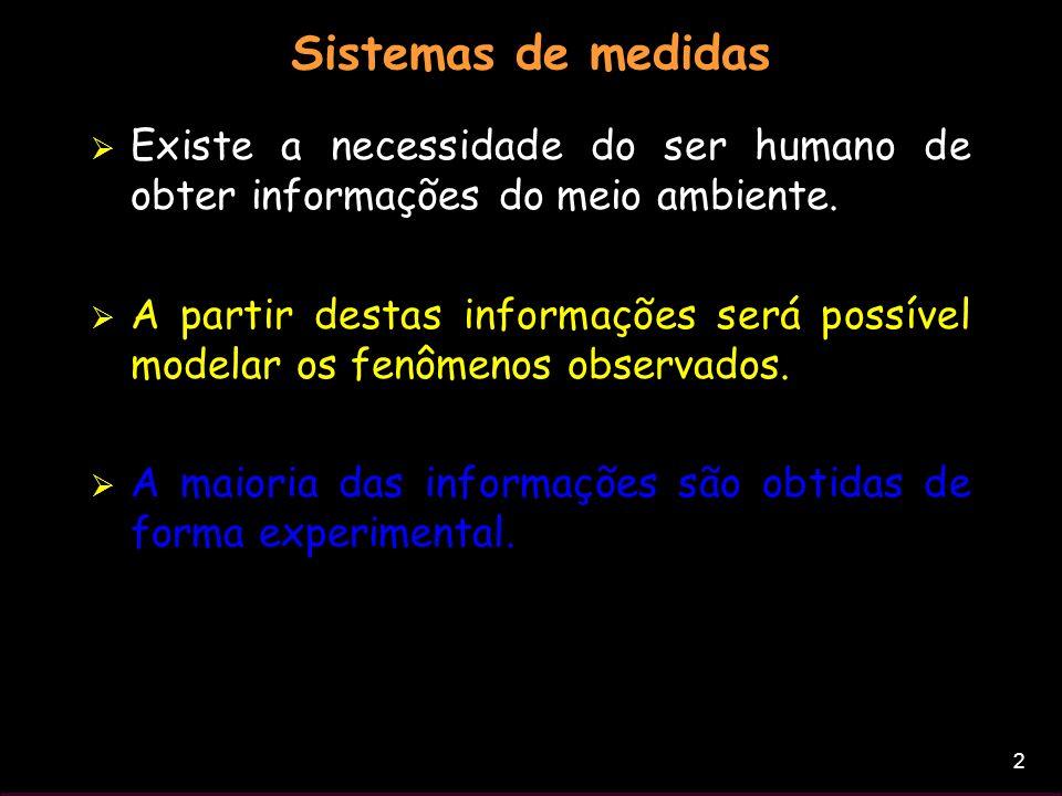 Sistemas de medidas Existe a necessidade do ser humano de obter informações do meio ambiente.