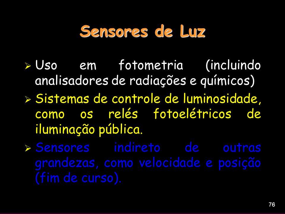 Sensores de Luz Uso em fotometria (incluindo analisadores de radiações e químicos)