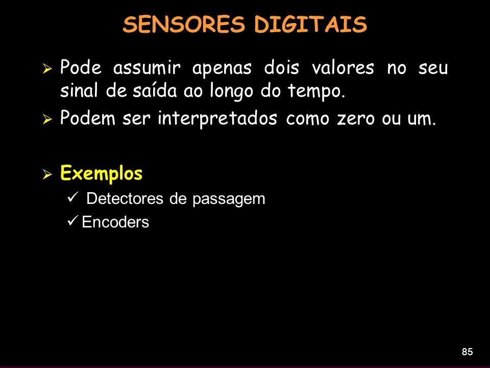 SENSORES DIGITAIS Pode assumir apenas dois valores no seu sinal de saída ao longo do tempo. Podem ser interpretados como zero ou um.
