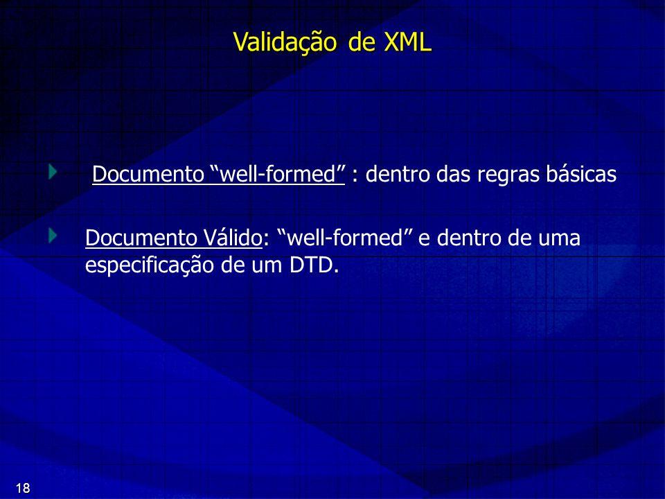 Validação de XML Documento well-formed : dentro das regras básicas