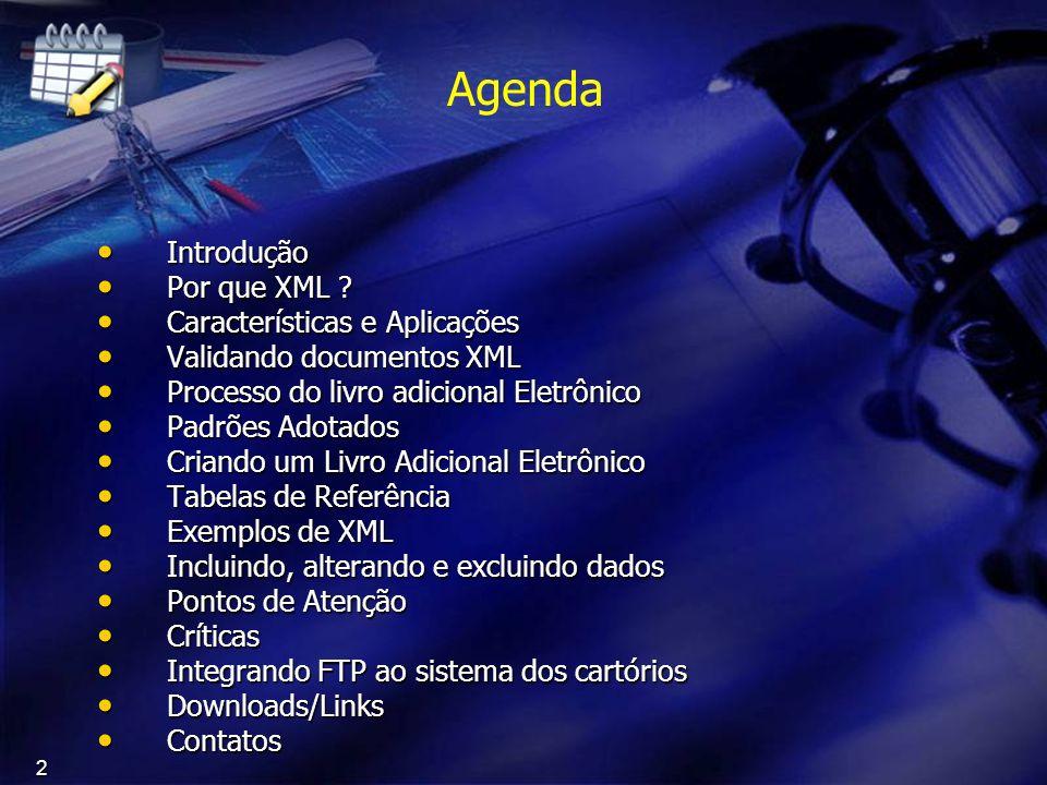 Agenda Introdução Por que XML Características e Aplicações