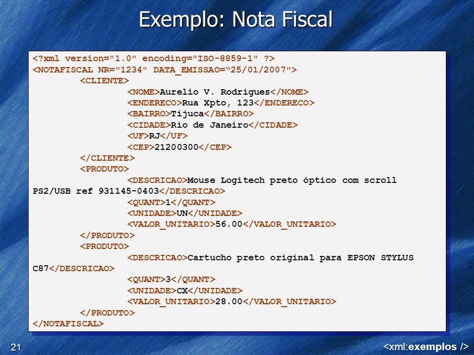 Exemplo: Nota Fiscal <xml:exemplos />