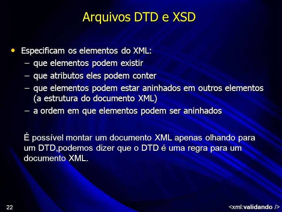 Arquivos DTD e XSD Especificam os elementos do XML: