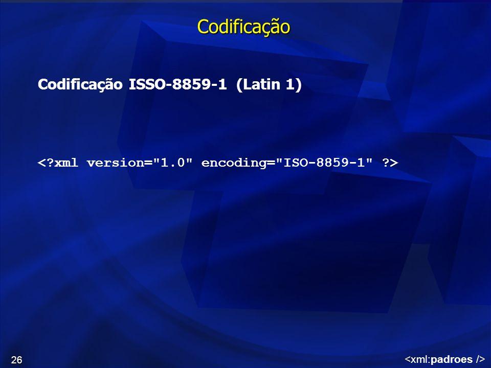 Codificação Codificação ISSO-8859-1 (Latin 1)