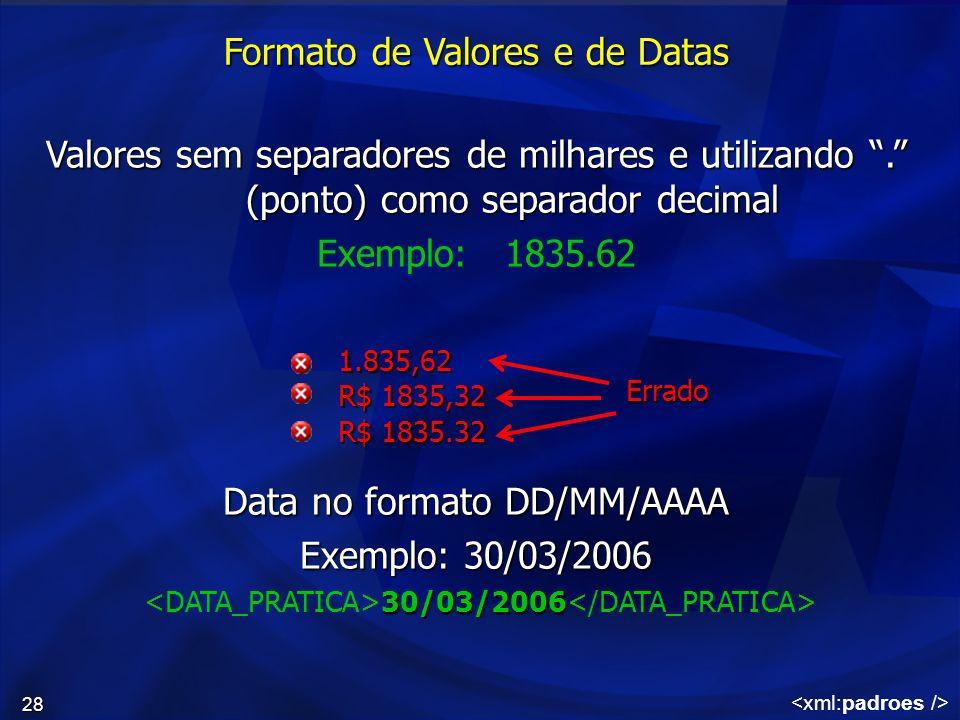 Formato de Valores e de Datas