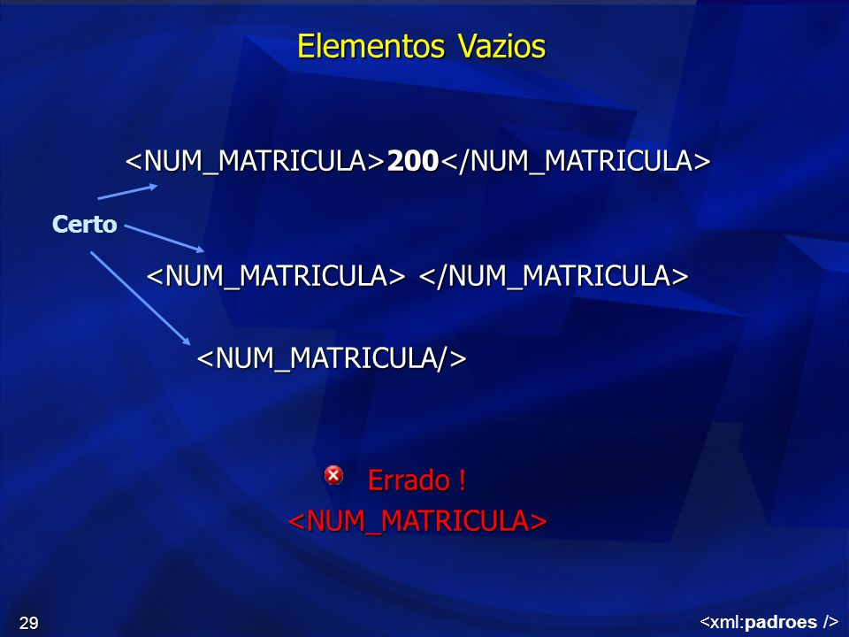 Elementos Vazios <NUM_MATRICULA>200</NUM_MATRICULA>