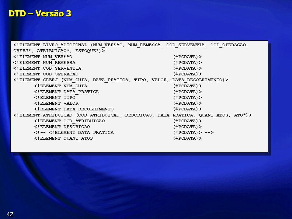 DTD – Versão 3 <!ELEMENT LIVRO_ADICIONAL (NUM_VERSAO, NUM_REMESSA, COD_SERVENTIA, COD_OPERACAO, GRERJ*, ATRIBUICAO*, ESTOQUE )>