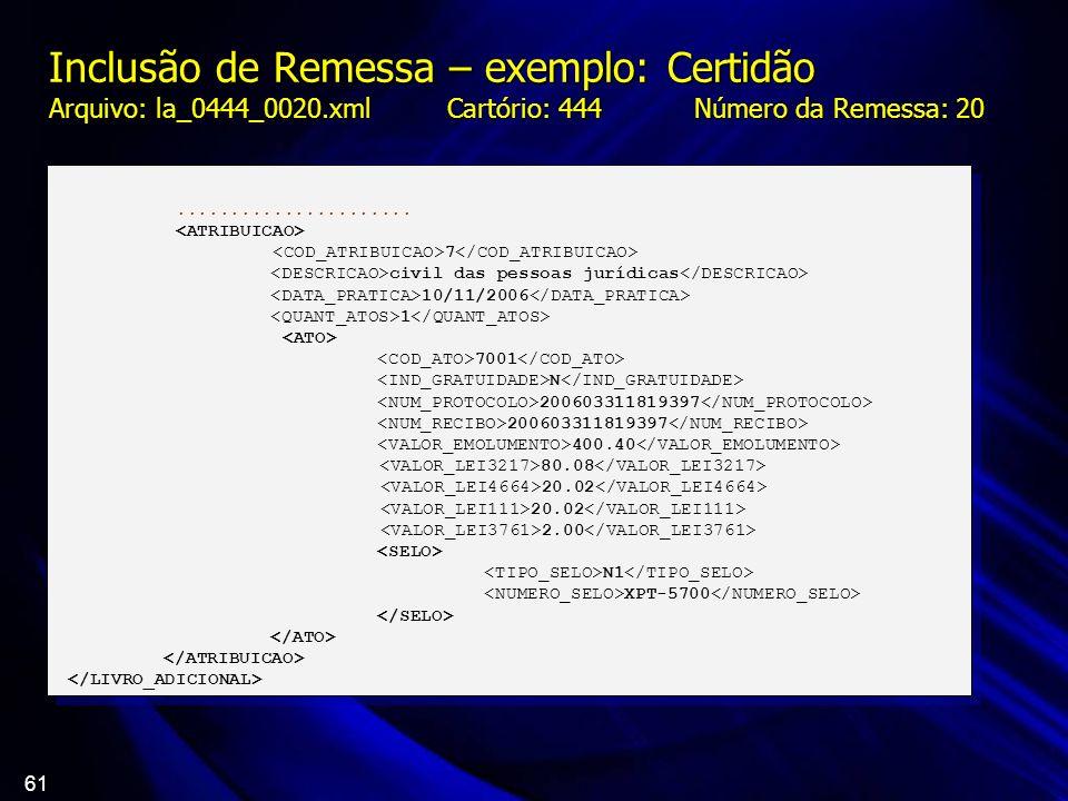 Inclusão de Remessa – exemplo: Certidão Arquivo: la_0444_0020