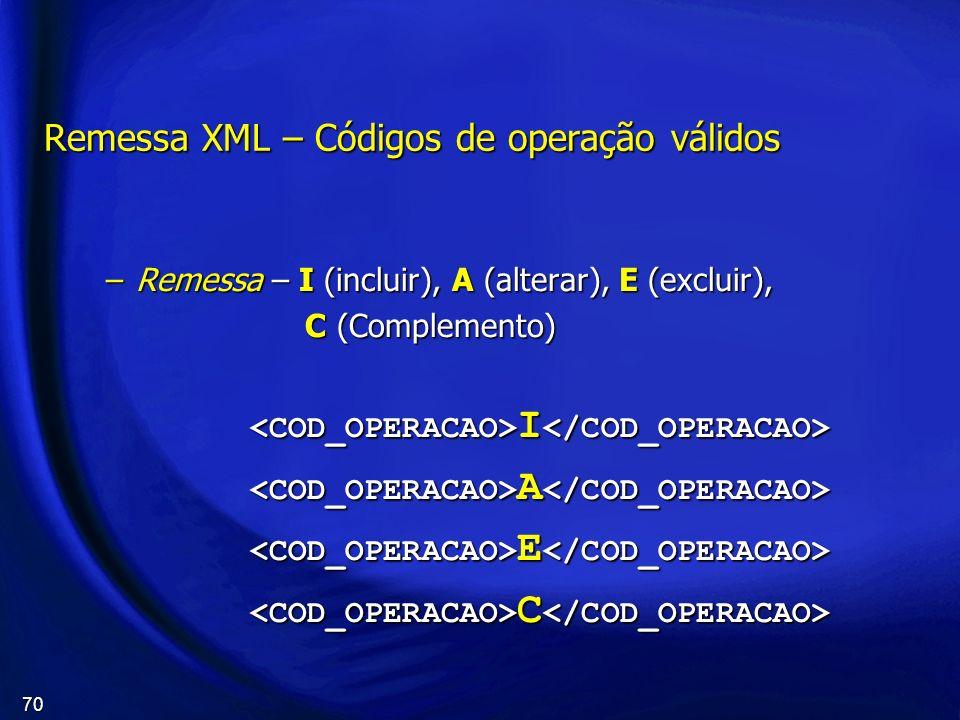 Remessa XML – Códigos de operação válidos