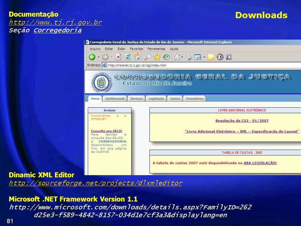 Downloads Documentação http://www.tj.rj.gov.br Seção Corregedoria