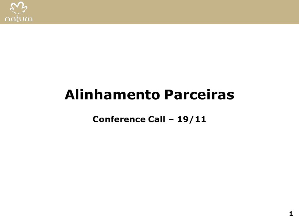 Alinhamento Parceiras Conference Call – 19/11