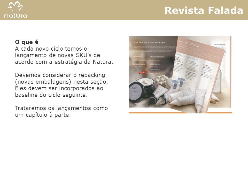 Revista Falada O que é. A cada novo ciclo temos o lançamento de novas SKU's de acordo com a estratégia da Natura.