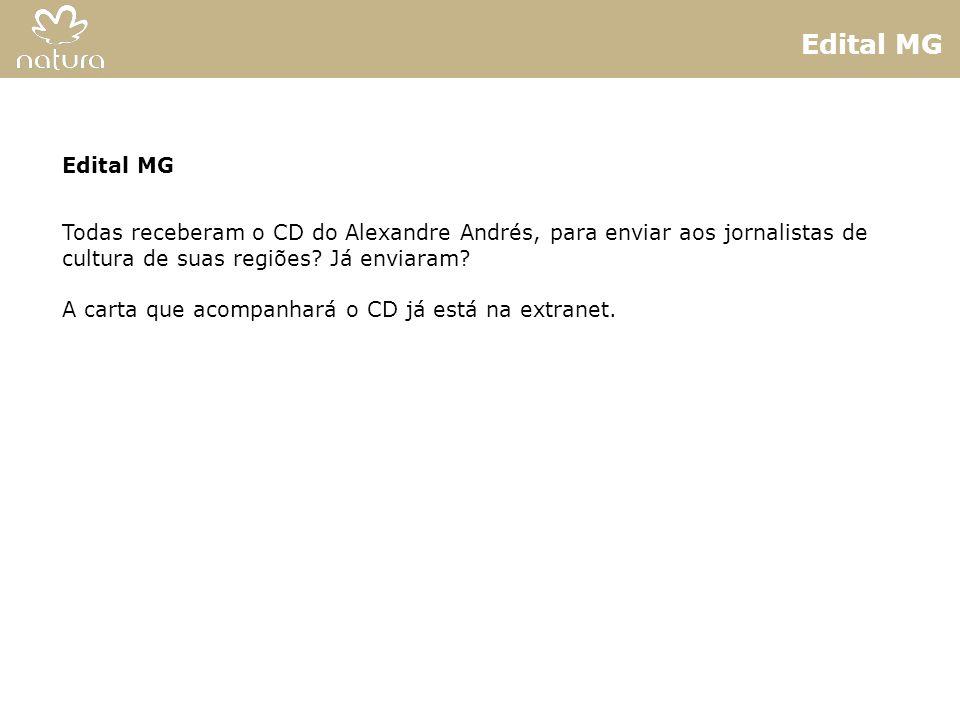 Edital MG Edital MG. Todas receberam o CD do Alexandre Andrés, para enviar aos jornalistas de cultura de suas regiões Já enviaram