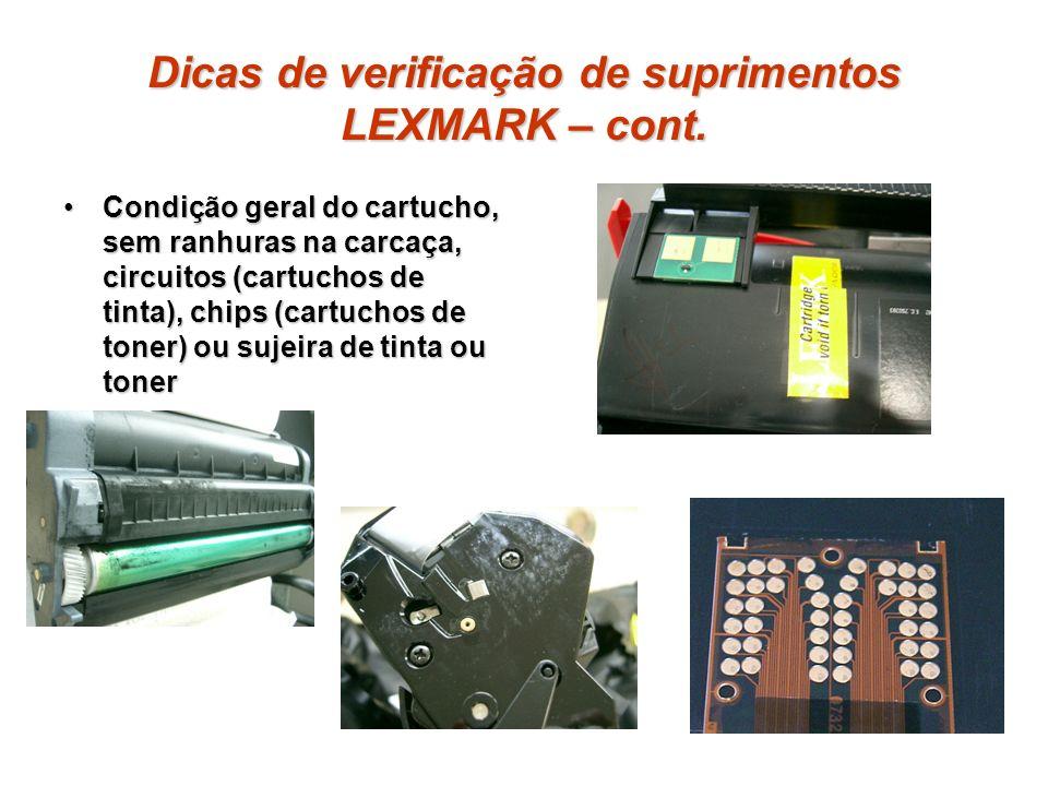 Dicas de verificação de suprimentos LEXMARK – cont.