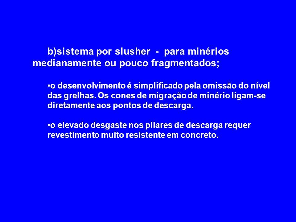 b)sistema por slusher - para minérios medianamente ou pouco fragmentados;