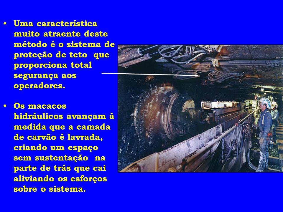 Uma característica muito atraente deste método é o sistema de proteção de teto que proporciona total segurança aos operadores.