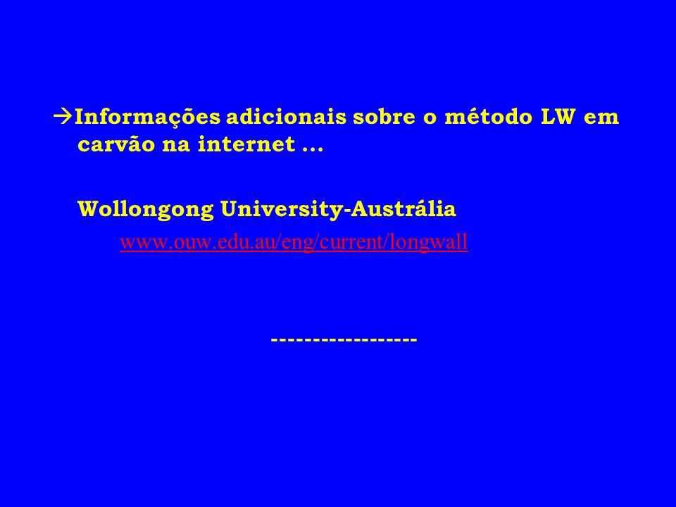 Informações adicionais sobre o método LW em carvão na internet ...
