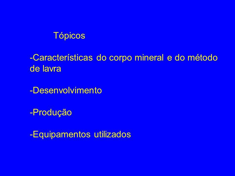 Tópicos -Características do corpo mineral e do método de lavra.