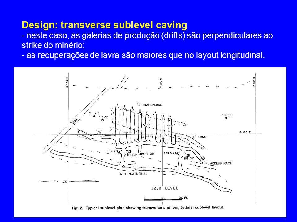 Design: transverse sublevel caving - neste caso, as galerias de produção (drifts) são perpendiculares ao strike do minério; - as recuperações de lavra são maiores que no layout longitudinal.