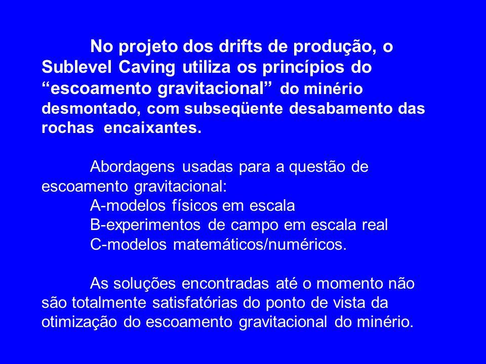 No projeto dos drifts de produção, o Sublevel Caving utiliza os princípios do escoamento gravitacional do minério desmontado, com subseqüente desabamento das rochas encaixantes.