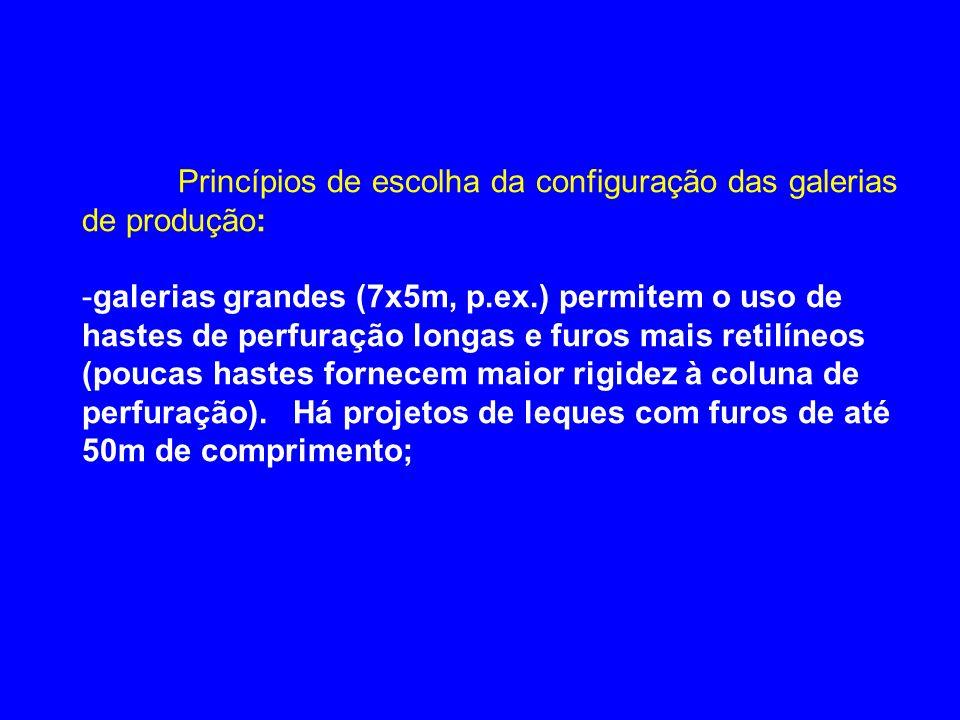 Princípios de escolha da configuração das galerias de produção: