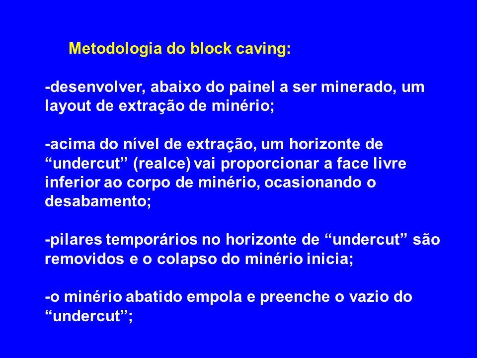 Metodologia do block caving: