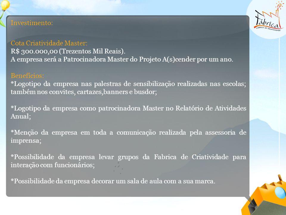 Investimento: Cota Criatividade Master: R$ 300.000,00 (Trezentos Mil Reais).