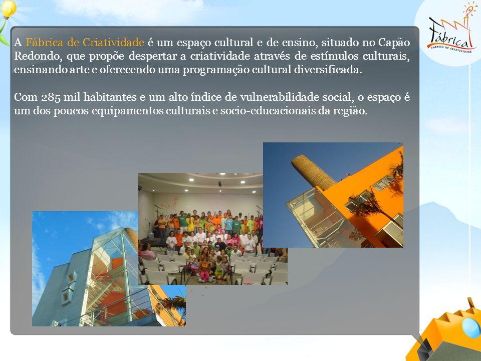 A Fábrica de Criatividade é um espaço cultural e de ensino, situado no Capão Redondo, que propõe despertar a criatividade através de estímulos culturais, ensinando arte e oferecendo uma programação cultural diversificada.
