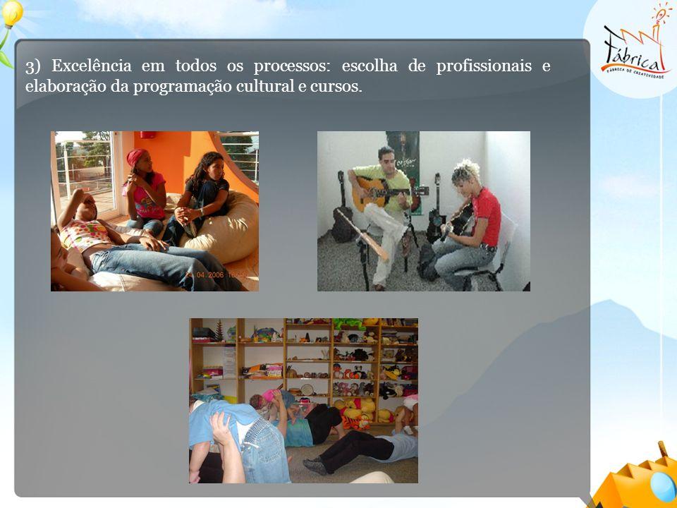3) Excelência em todos os processos: escolha de profissionais e elaboração da programação cultural e cursos.