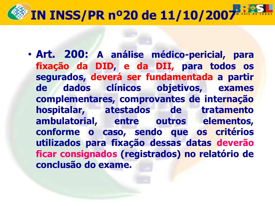 12/03/08 IN INSS/PR nº20 de 11/10/2007.