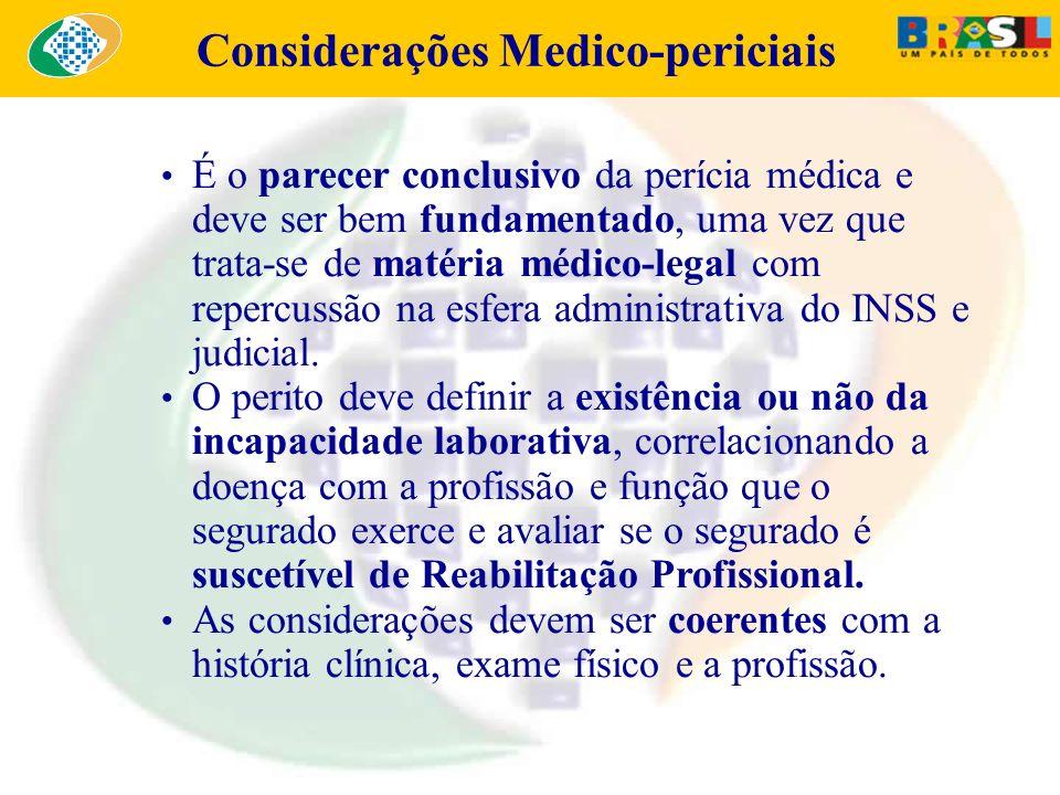 Considerações Medico-periciais