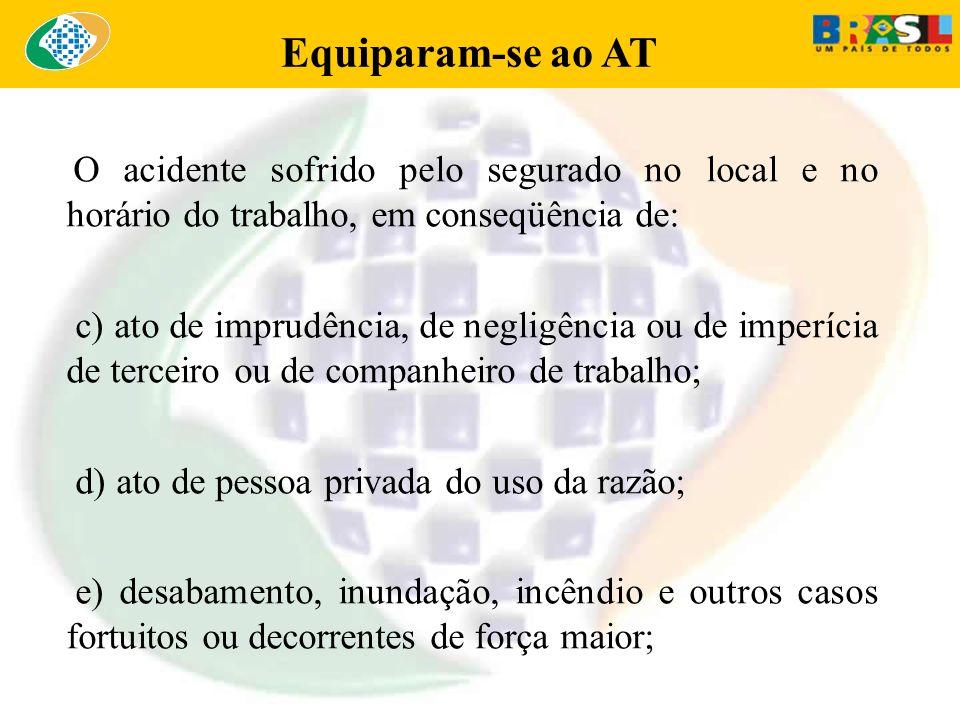 Equiparam-se ao AT O acidente sofrido pelo segurado no local e no horário do trabalho, em conseqüência de: