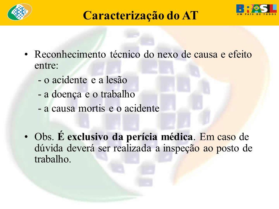 Caracterização do AT Reconhecimento técnico do nexo de causa e efeito entre: - o acidente e a lesão.