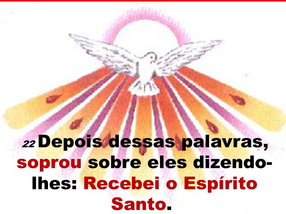 22 Depois dessas palavras, soprou sobre eles dizendo-lhes: Recebei o Espírito Santo.