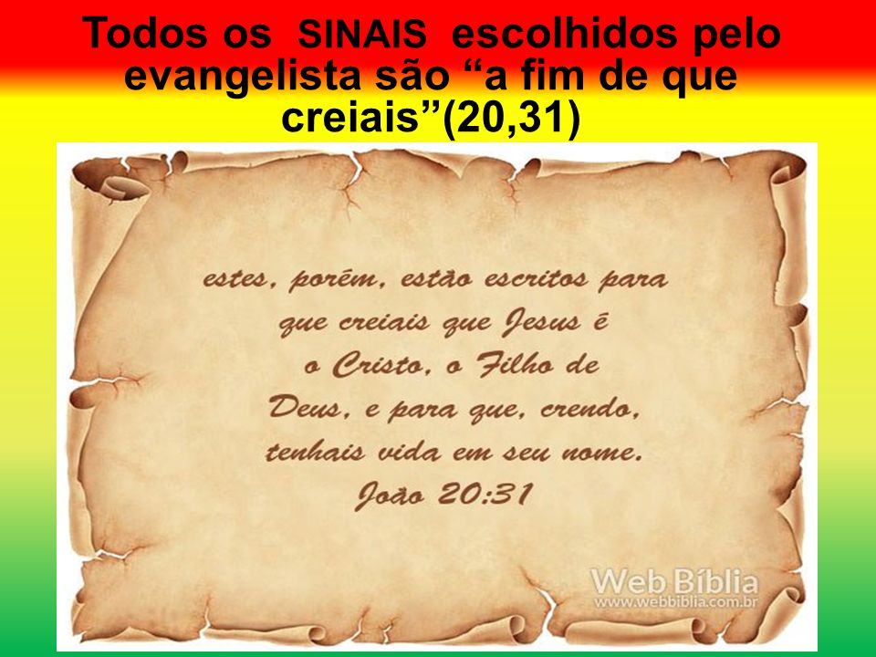 Todos os SINAIS escolhidos pelo evangelista são a fim de que creiais (20,31)