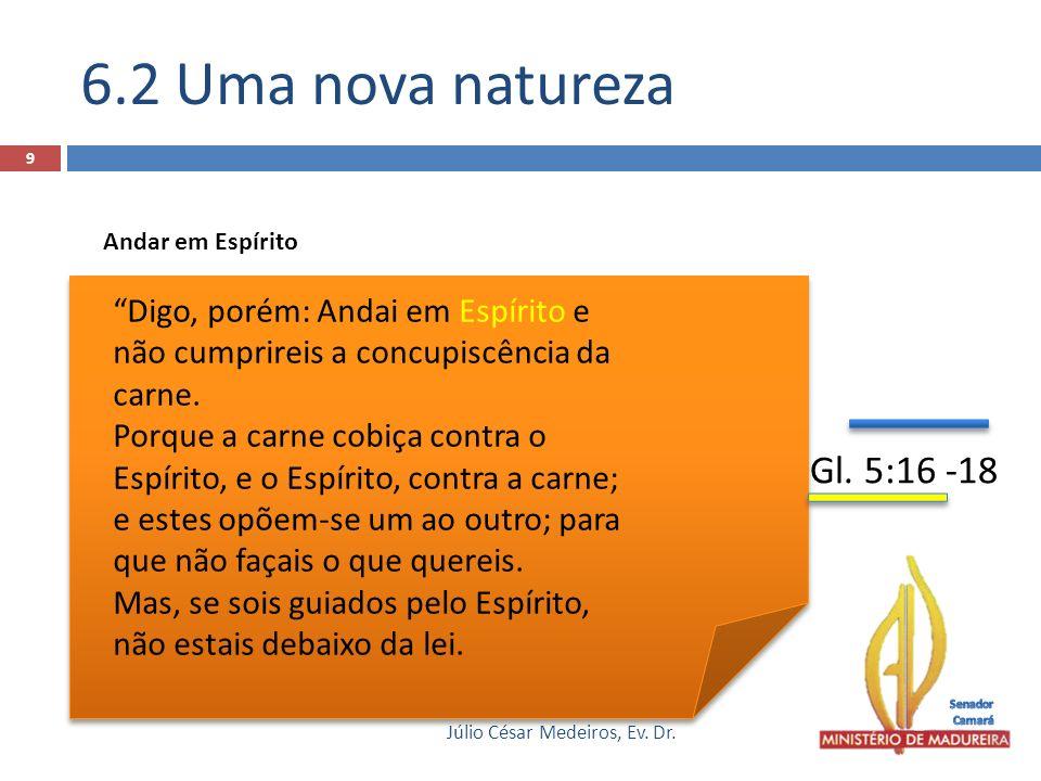 6.2 Uma nova natureza Andar em Espírito. Digo, porém: Andai em Espírito e não cumprireis a concupiscência da carne.