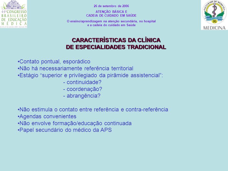 CARACTERÍSTICAS DA CLÍNICA DE ESPECIALIDADES TRADICIONAL