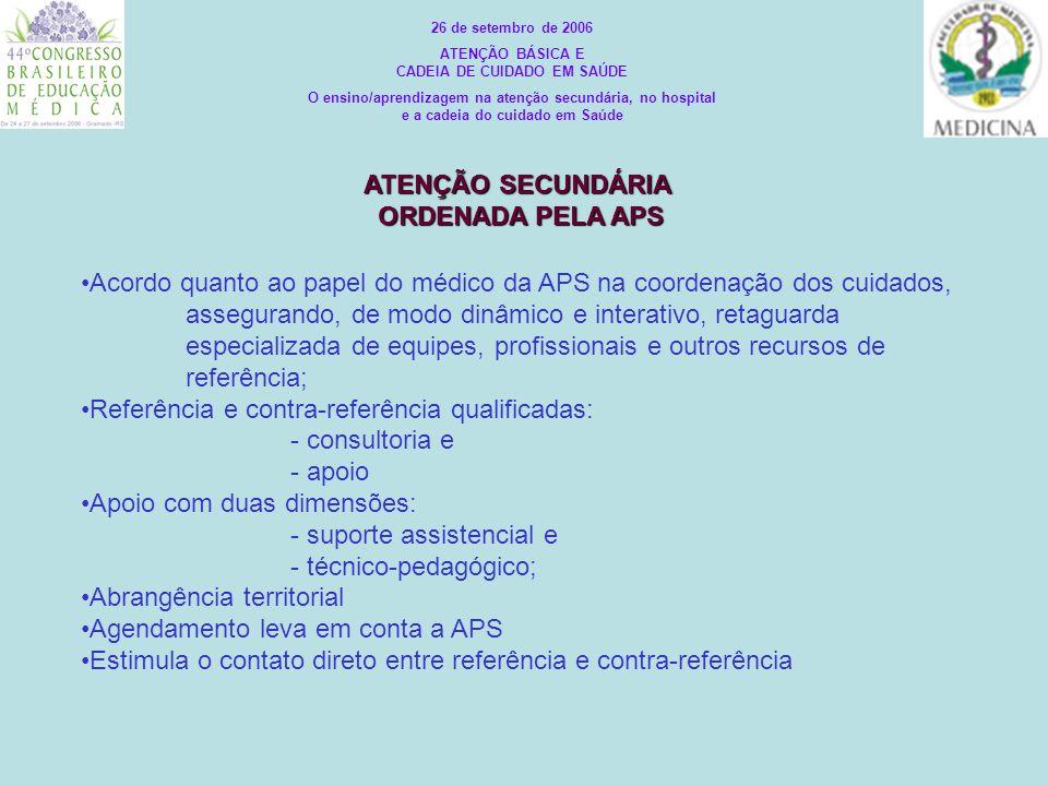 ATENÇÃO SECUNDÁRIA ORDENADA PELA APS
