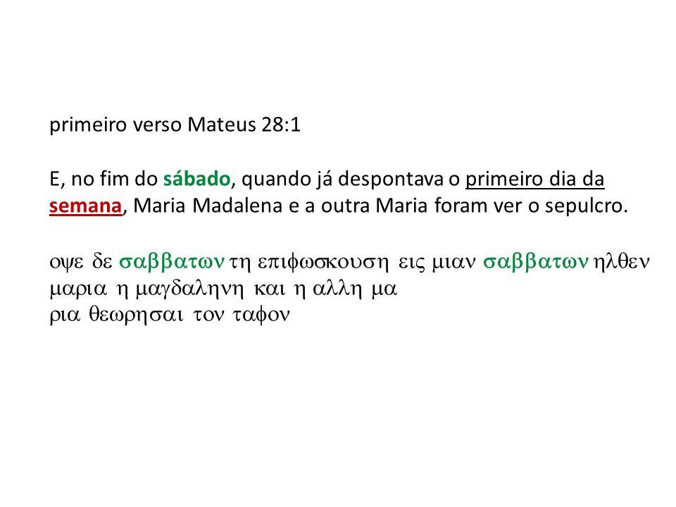 primeiro verso Mateus 28:1