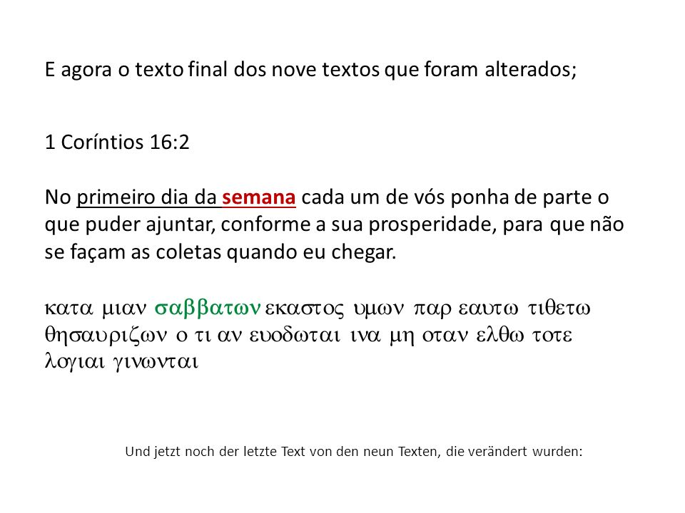E agora o texto final dos nove textos que foram alterados;