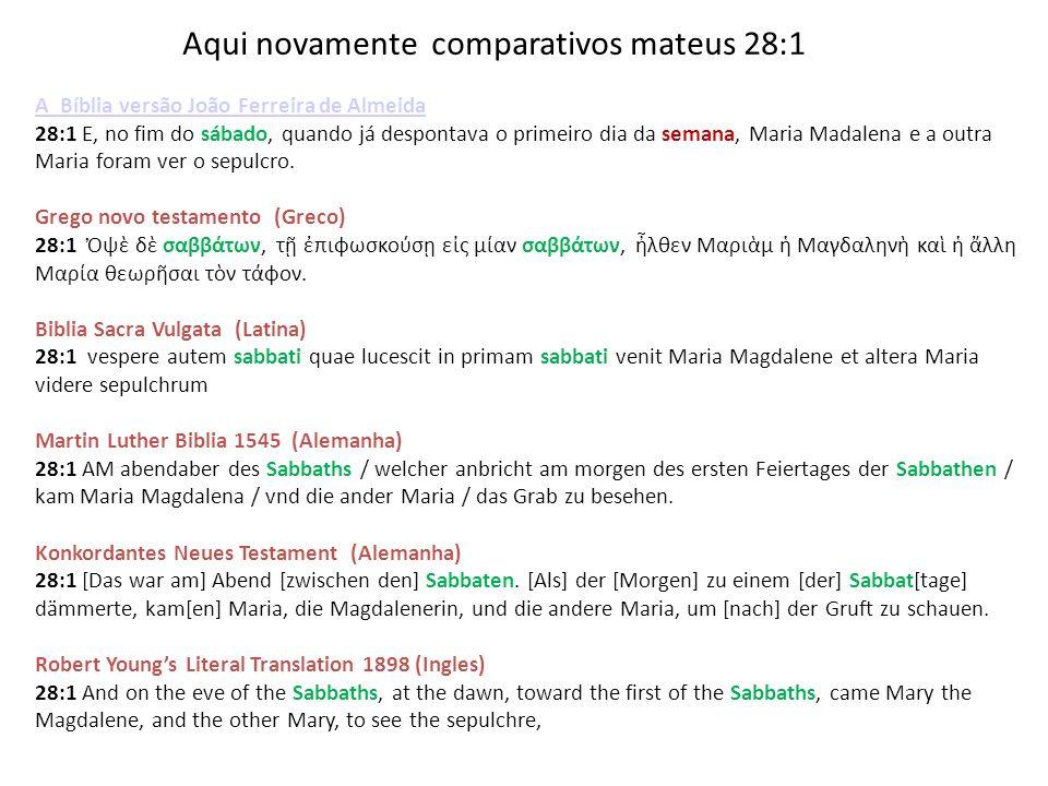 Aqui novamente comparativos mateus 28:1