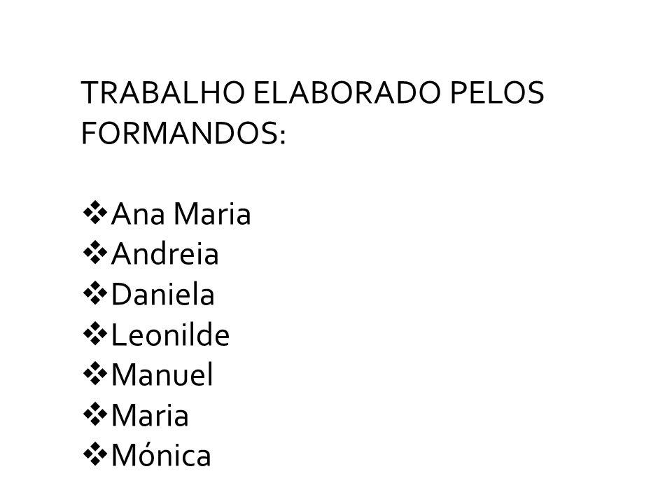 TRABALHO ELABORADO PELOS FORMANDOS: