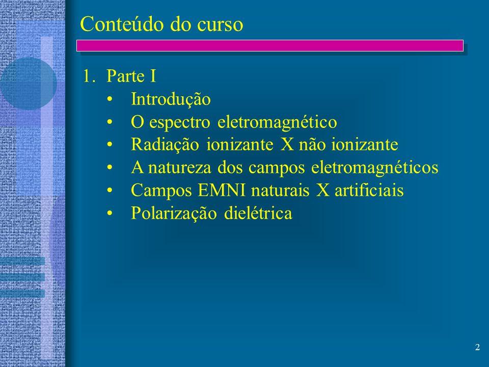 Conteúdo do curso Parte I Introdução O espectro eletromagnético
