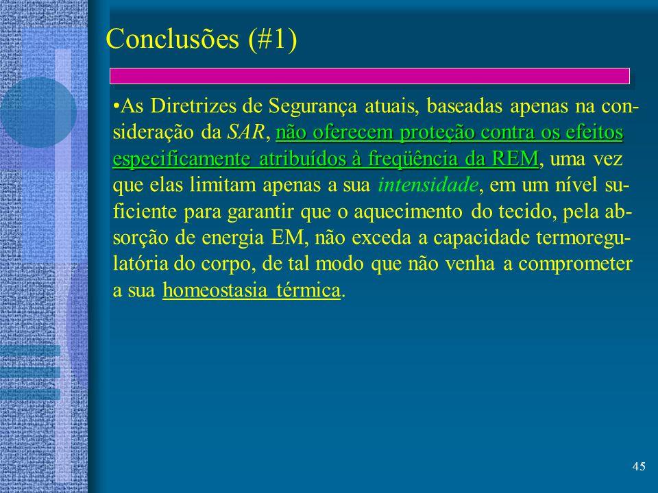 Conclusões (#1) As Diretrizes de Segurança atuais, baseadas apenas na con- sideração da SAR, não oferecem proteção contra os efeitos.