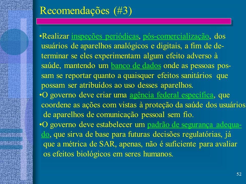 Recomendações (#3) Realizar inspeções periódicas, pós-comercialização, dos. usuários de aparelhos analógicos e digitais, a fim de de-