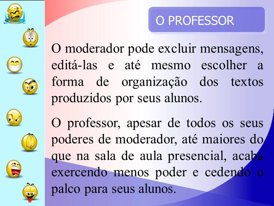 O PROFESSOR O moderador pode excluir mensagens, editá-las e até mesmo escolher a forma de organização dos textos produzidos por seus alunos.