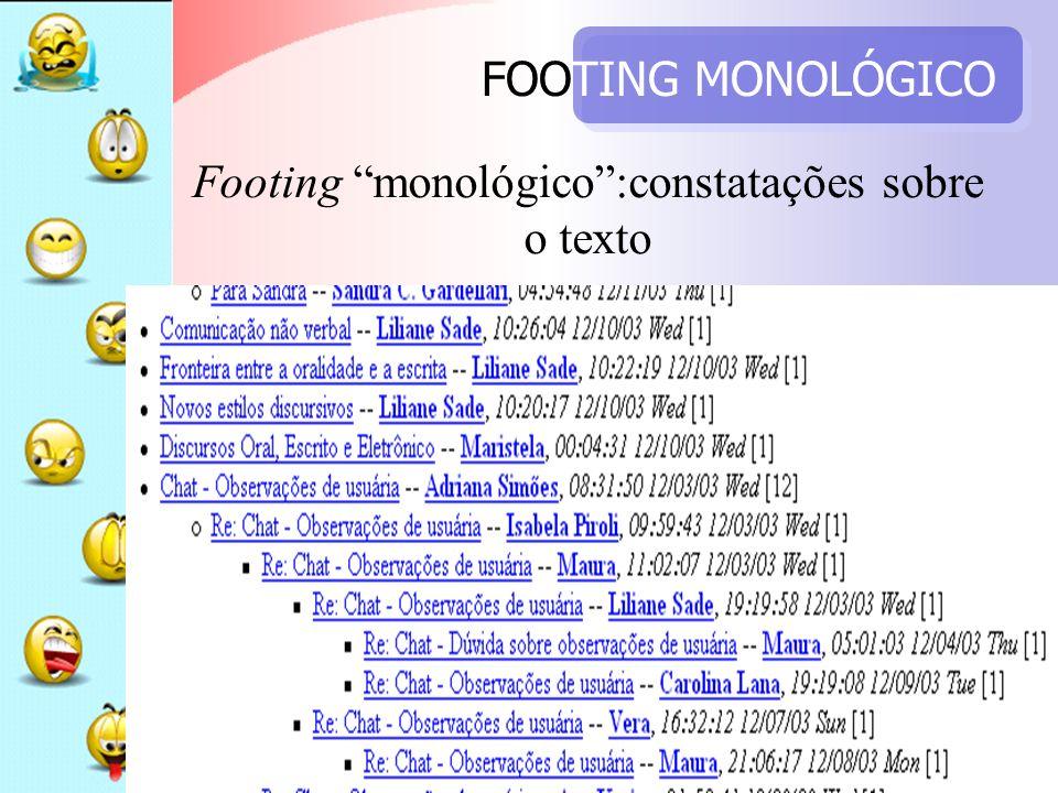 Footing monológico :constatações sobre o texto